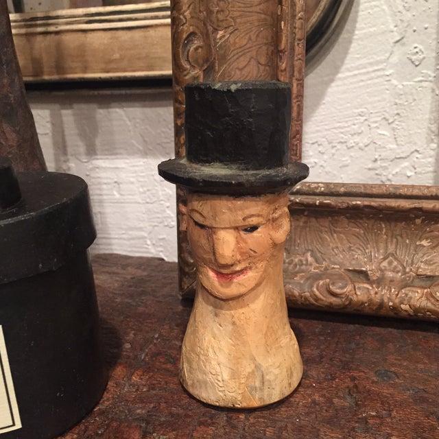 Vintage Folk Art Wooden Head With Hat - Image 2 of 9