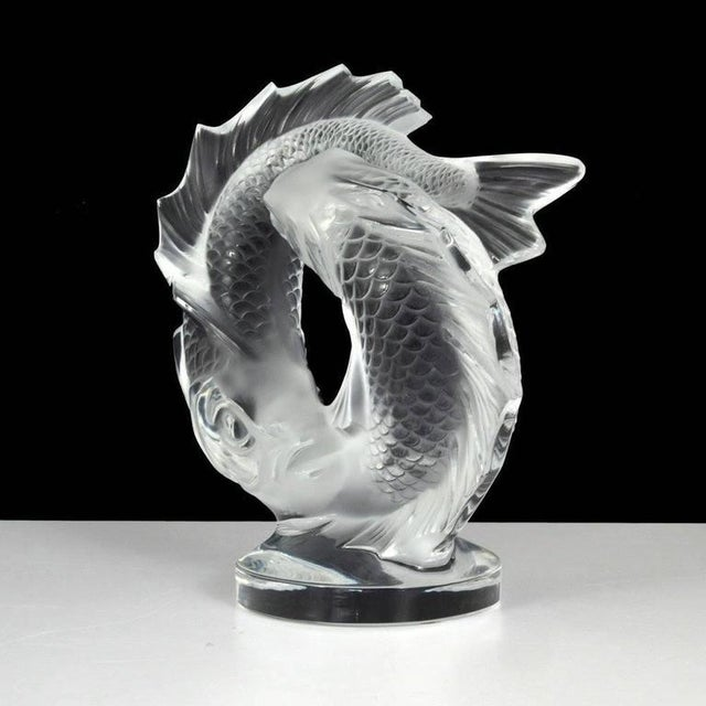 """Lalique Clear Crystal Double Fish """"Deux Poissons"""" Sculpture For Sale In Houston - Image 6 of 7"""