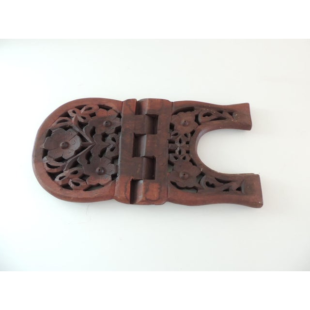 1980s Indian Hand Carved Book Display or Stand For Sale - Image 5 of 6