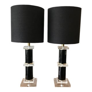 1980s Black and Clear Lucite Table Lamps - a Pair For Sale