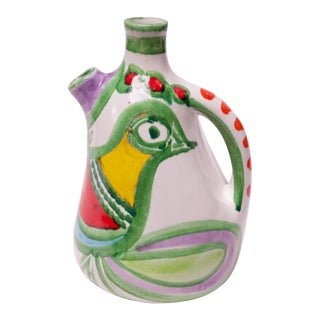 "Hand Painted Italian Ceramic ""Bird"" Pitcher / Wine Decanter by Desimone For Sale"