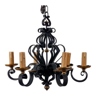 French Gothic Style 6-Light Heavy Iron Chandelier For Sale