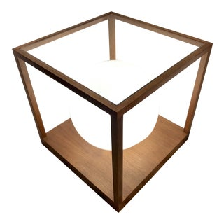 1970s Mid Century Modern Lighted Wood and Glass Cube Table For Sale