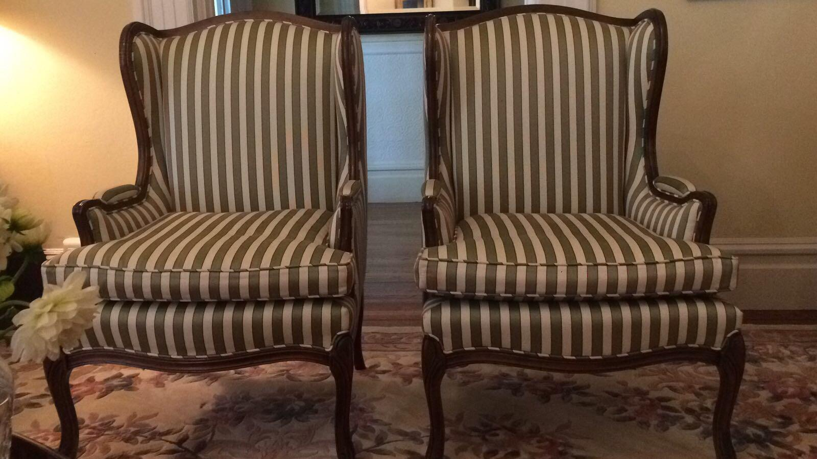 Superb Pair Of Queen Anne Wingback Striped Upholstered Chairs   Image 2 Of 10