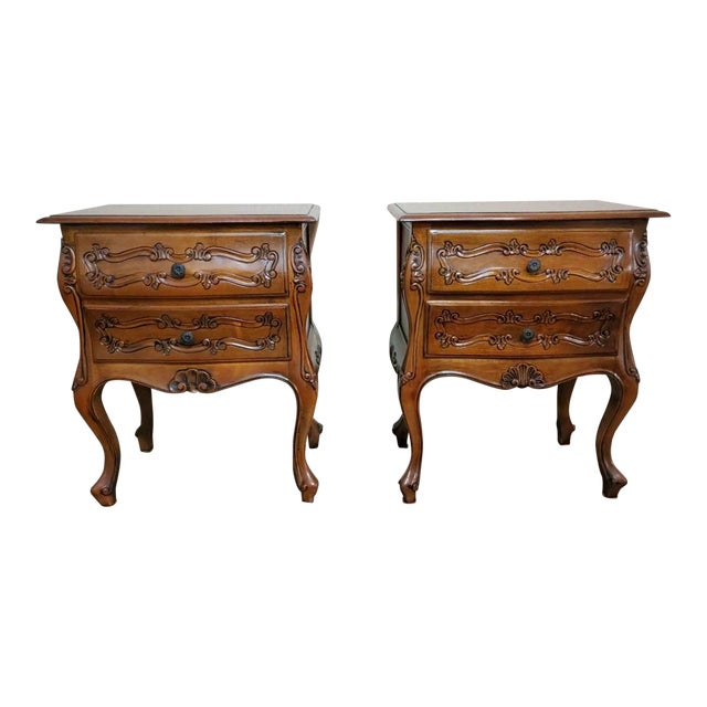 Italian Louis XV Style Carved Walnut Bedside Tables - a Pair For Sale