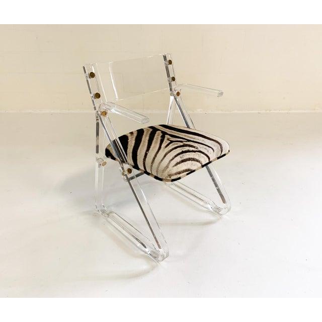 Hollywood Regency Vintage Mid Century Zebra Hide & Lucite Desk Chair For Sale - Image 3 of 7