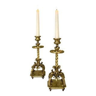 19th Century French Bronze Candlesticks - a Pair For Sale