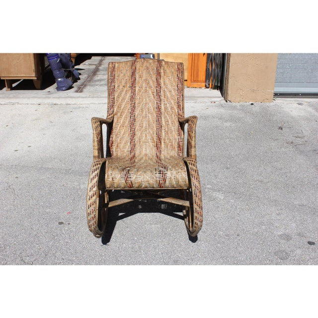 Wood C. 1940s French Art Deco Wood Rocking Chair For Sale - Image 7 of 13
