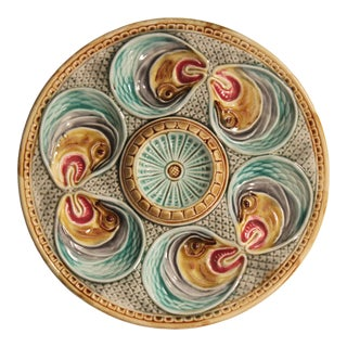 Majolica Fish Heads Oyster Plate by Onnaing, 1800s For Sale