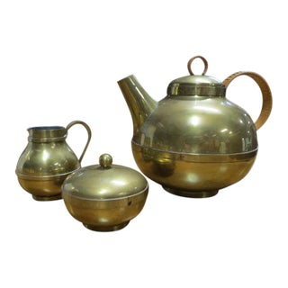 Vintage 1950s Harald Buchrucker Mid-Century Modern Brass Tone Teapot, Creamer, and Sugar Set - Set of 3 For Sale