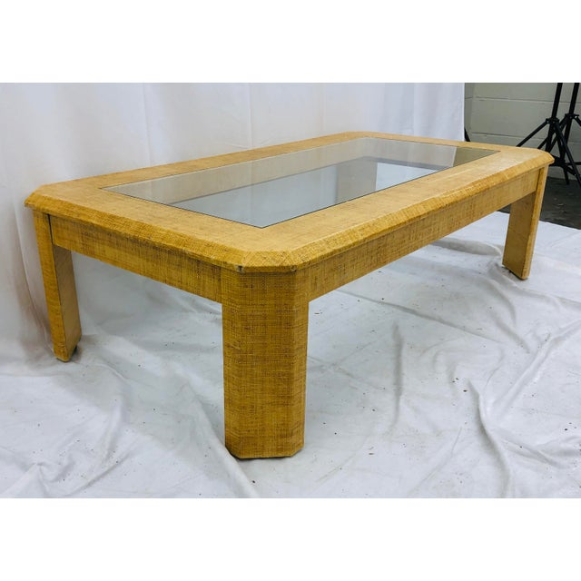 Mid 20th Century Vintage Grasscloth Wrapped Coffee Table For Sale - Image 5 of 10