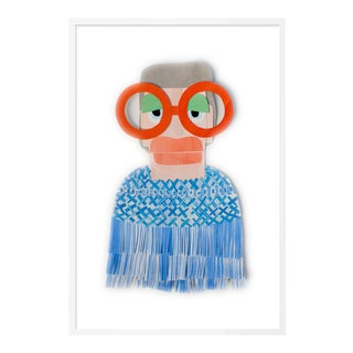 Iris with Blue Fringe Jacket by Melvin G in White Framed Paper, Small Art Print For Sale