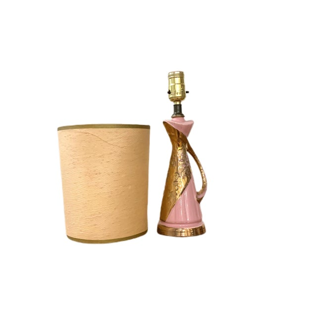 Mid-Century Modern 1950's Pink and Gold Atomic Lamp For Sale - Image 3 of 8