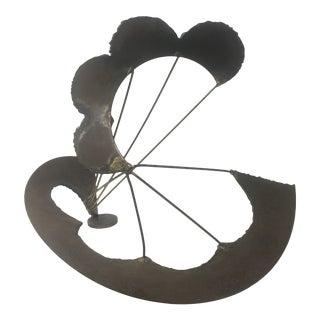 1960s Brutalist Parachute Metal Sculpture For Sale