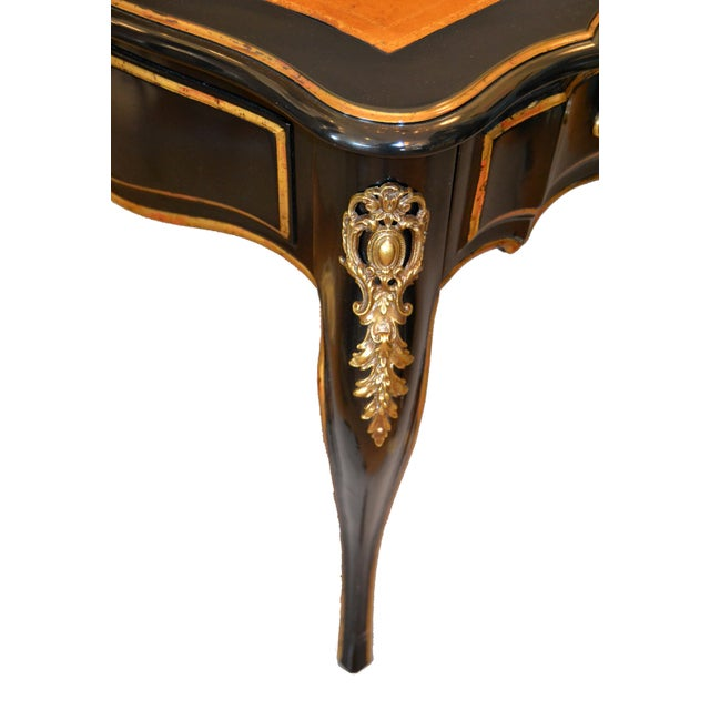 Animal Skin In the Manner of French Louis XV Writing Desk With Stool by Drexel For Sale - Image 7 of 13
