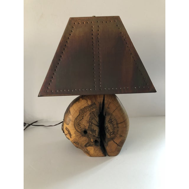 1970s 1970s Organic Burl Wood Lamp With Copper Shade For Sale - Image 5 of 11