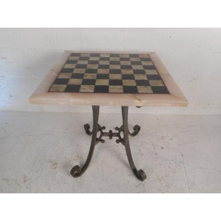 Vintage Marble-Top Chessboard Game Table Preview