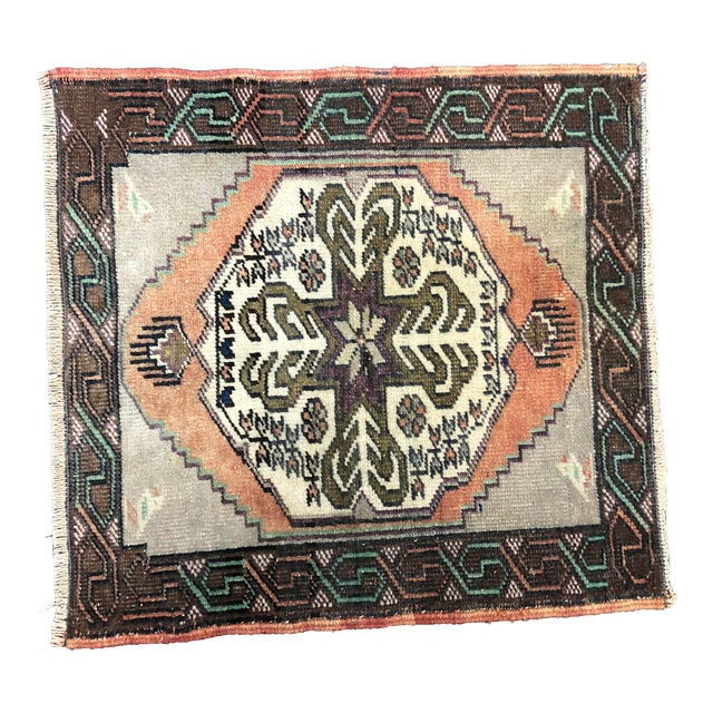 Vintage Turkish Handmade Gray and Beige Small Rug For Sale