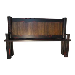 Distressed Red & Black Hall Bench