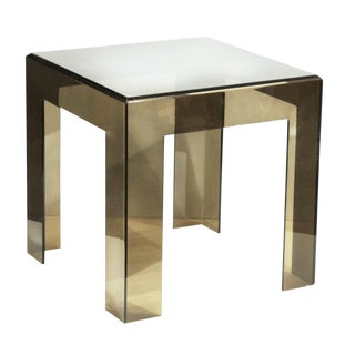 1970s. Mid—century Modern Les Prismatiques Smoked Lucite Side Table
