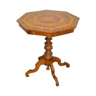 Antique Italian Walnut Marquetry Inlaid Octagon Top Pedestal Side Table