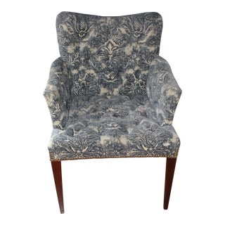 Modern Henredon Madison Tufted Blue Chair For Sale