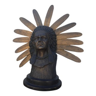 Native American Indian Chief Bronze Sculpture For Sale
