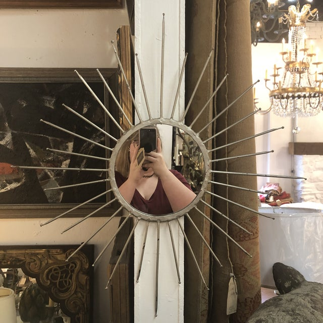 Mid-Century Modern Silver Starburst Mirror For Sale - Image 13 of 13
