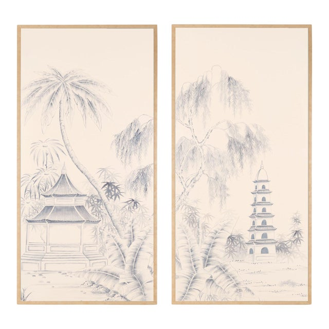 """Jardins en Fleur """"Blue Pagoda Garden"""" Chinoiserie Hand-Painted Panel on Blush Silk Diptych by Simon Paul Scott in Burnished Gold Frame - a Pair For Sale"""