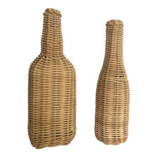 Wicker Wrapped Bottles- a Pair For Sale