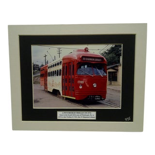"Vintage ""A Pittsburgh Trolley in 1974"" Matted Color Photograph"
