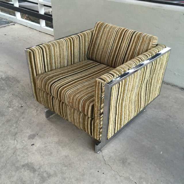 Modern Patrician Furniture Co. Chrome Frame Lounge Chair For Sale - Image 3 of 9