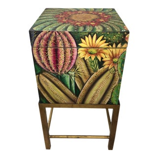 Vintage Handpainted Cactus Flowers Lacquered Box on Stand Decor For Sale