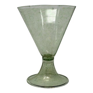Vintage Green Murano Wine Glass For Sale