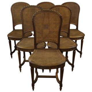 Dining Chairs Louis XVI French 1920 Set 6 Wood For Sale