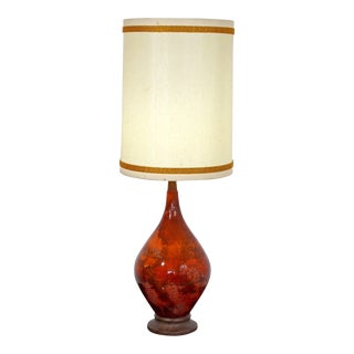 1970s Mid Century Modern Orange Volcanic Lava Glaze Table Lamp For Sale