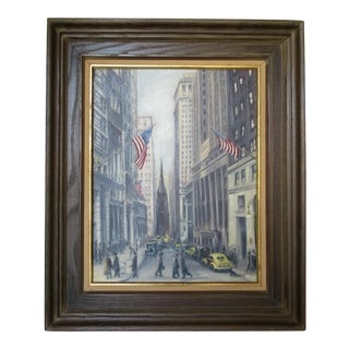 Vintage Cityscape Painting of New York City & Wall Street, Manner of Guy C. Wiggins For Sale