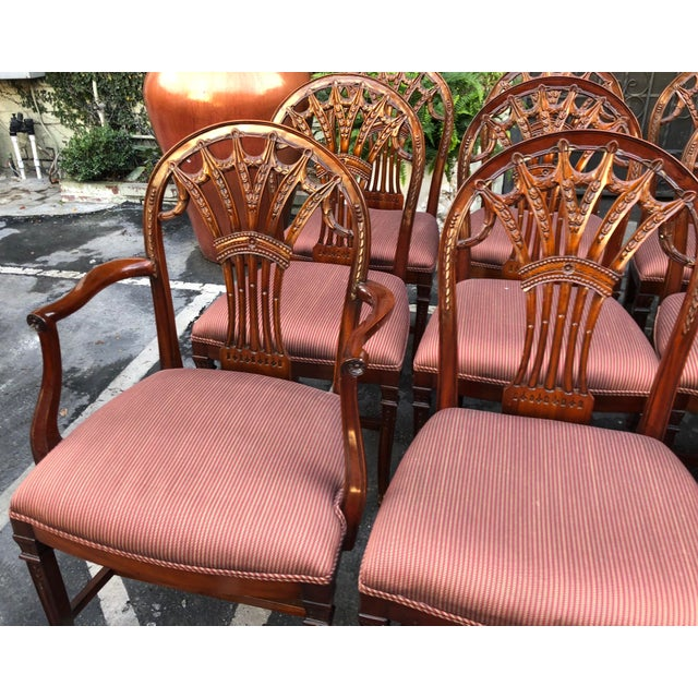 Red Set of 12 Maitland-Smith Georgian Mahogany Dining Chairs For Sale - Image 8 of 11