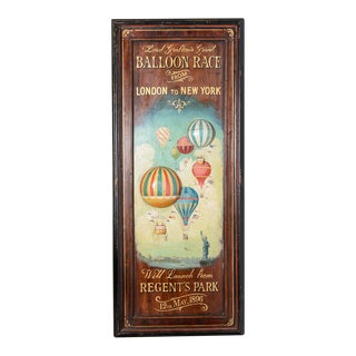 Vintage Advertising Balloon Race Sign For Sale