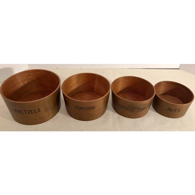 Vintage Wooden Nesting Snack Bowls - Set of 4 - Image 2 of 10