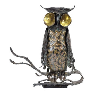 Vintage Brutalist Owl Metal Sculpture Sgnd Pascoe Mid Century Modern Jere Era For Sale