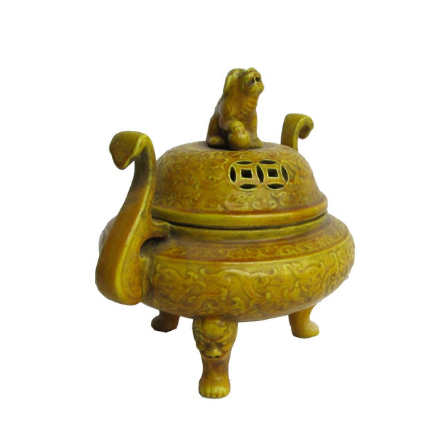 Chinese Yellow Glaze Ceramic Incense Burner - Image 3 of 6