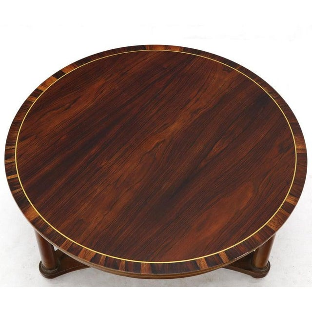 Round Rosewood Neoclassical Rosewood Banded Top Coffee Center Table For Sale - Image 6 of 11