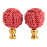 Image of Nautical Knot Lamp Finials in Raspberry Red For Sale