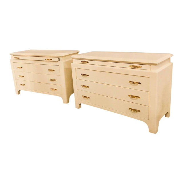 Karl Springer Style Linen Wrapped Commodes or Chests - A Pair For Sale