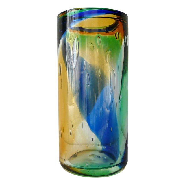 Murano Blue Amber Green Cylinder Vase by Camozzo For Sale
