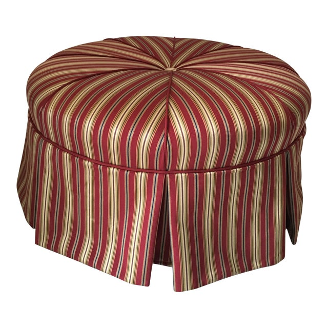 Traditional Round Stripe Upholstered Pleated Skirt Ottoman For Sale