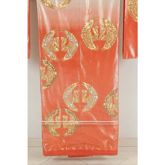 Gold Japanese Ceremonial Kimono Framed in a Lucite Box For Sale - Image 8 of 10