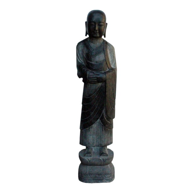 Chinese Black Gray Stone Carved Standing Monk Lohon Statue For Sale