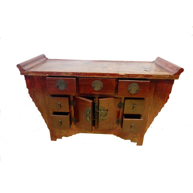 Rustic Cantonese Altar Table Bat Fu Chest. For Sale - Image 3 of 9